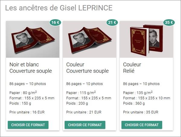 Geneanet - Livre imprimable - Commander