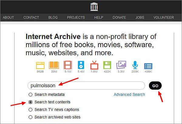 Votre généalogie avec Archive.org-Recherche
