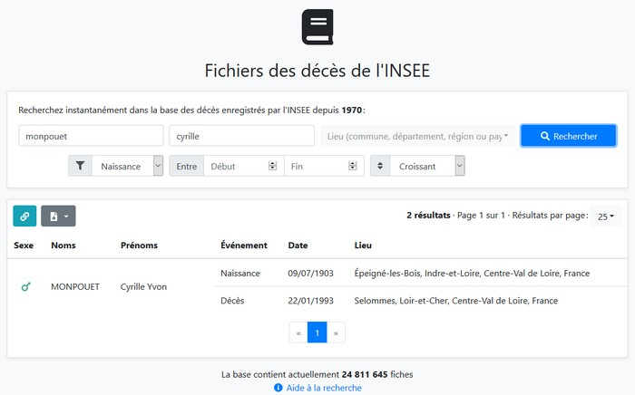Fichiers décès INSEE - ArbreApp