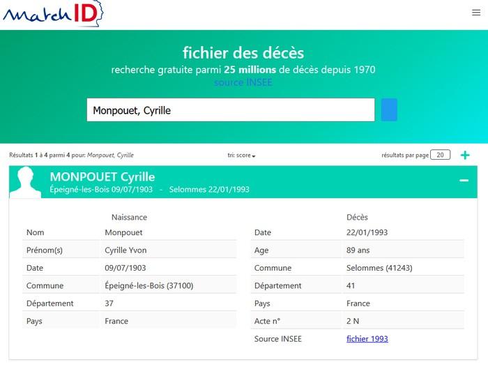 Fichiers décès INSEE - MatchID