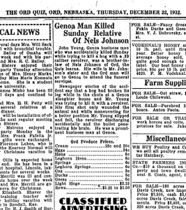 Obituary of John Young, The Ord Quiz, 22 December 1932
