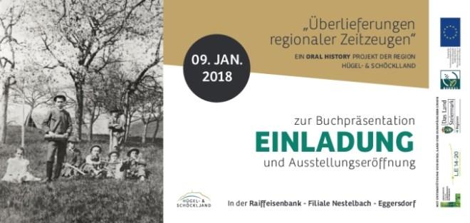 Vorderseite der Einladung zur Buchpräsentation und Ausstellungseröffnung regionaler Zeitzeugen - Oral History