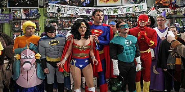 """The Justice League Recombination"" -- The guys find a ""super"" use for Penny's new boyfriend, Zack, when they enter a costume contest as the Justice League, on THE BIG BANG THEORY, Thursday, Dec. 16 (8:00-8:31 PM, ET/PT) on the CBS Television Network. Pictured (left to right): Kunal Nayyar (with seahorse), Simon Helberg, Kaley Cuoco, Brian Thomas Smith, Johnny Galecki and Jim Parsons.costumes courtesy DC ComicsPhoto: Cliff Lipson/CBS ©2010 Broadcasting Inc. All Rights Reserved"