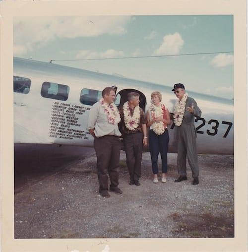Left to right: Lee Koepke; Bill Polhemus, Navigator; Ann Pellegreno, Pilot; Bill Payne, Co-Pilot