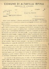 "Letter from the village of Altavilla Irpina with the subject ""Houses for sulfur mine workers (transl.)"" - Front (1950)"