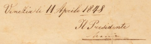 Decree of the Venetian Republic (Venice, 11 April 1848), detail showing the signature of Daniele Manin