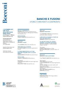 Programme for the conference Banche e fusioni, storici e archivisti a confronto [Banks and Mergers: Historians and Archivists in Debate] (Milan, 1 December 2017).