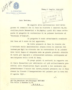 Letter from Dino Alfieri to Giuseppe Bevione (Rome, 1936), recto