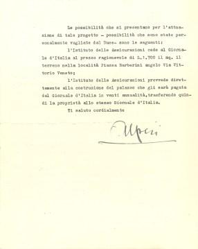 Lettera di Dino Alfieri a Giuseppe Bevione (Roma, 1936), verso