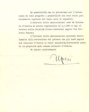 Letter from Dino Alfieri to Giuseppe Bevione (Rome, 1936), verso