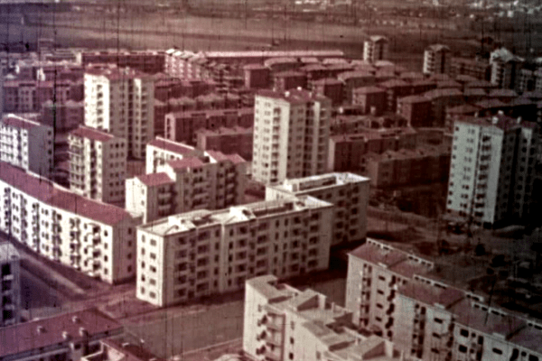 Frame from Case per il popolo with view of the Quadraro neighbourhood of the INA-Casa Plan (1953)