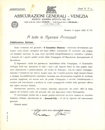 Circular No. 15/6 of the Venice Head Office (Venice, July 3, 1929)