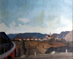 Napoleone Giovanni Fiumi, Il viadotto, oil on canvas (1938)