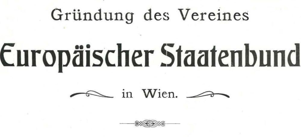 """Frontespizio dell'opuscolo """"Europäischer Staatenbund"""" di Edmondo Richetti (1914), particolare"""