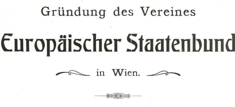 "Title page of the booklet ""Europäischer Staatenbund"" by Edmondo Richetti (1914), detail"