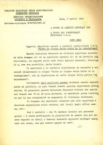 "Letters from the director general of the INA regarding the use of the ""Insure yourselves"" flier (Rome, 6-14 April 1954)"