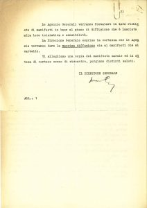 """Letters from the director general of the INA regarding the use of the """"Insure yourselves"""" flier (Rome, 6-14 April 1954)"""