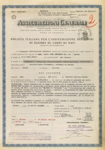 Insurance policy against war risks for the steamship San Giuseppe (Milan, April 21, 1941)