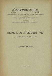 Bilancio Praevidentia al 31 dicembre 1950 (1951)