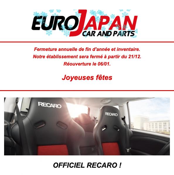 Sièges Recaro chez Eurojapan cars and parts