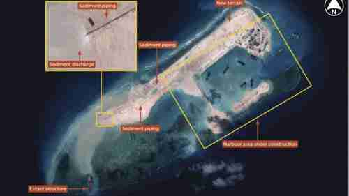Satellite picture of China's man-made island, November 2014 (Janes)