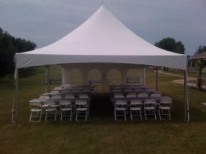 party rental tent with short sidewall