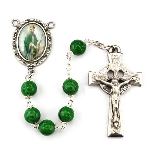 Rosary St Patrick Pewter Silver Green Shamrock Beads