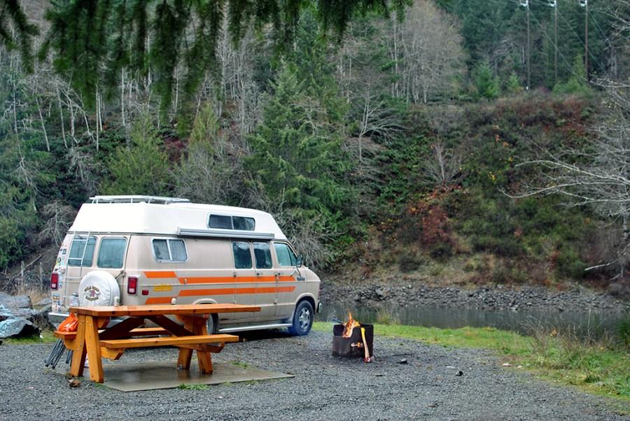 Generic-Van-Life-Camping-Spot-Strathcona-Dam-British-Columbia-Campfire