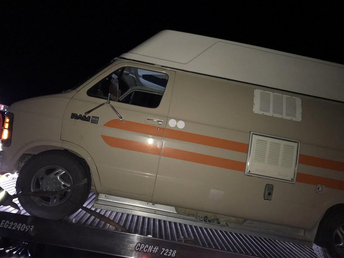 Camper van getting towed in Las Vegas