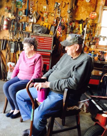 Darrell and Kaye in the shop, 2014.