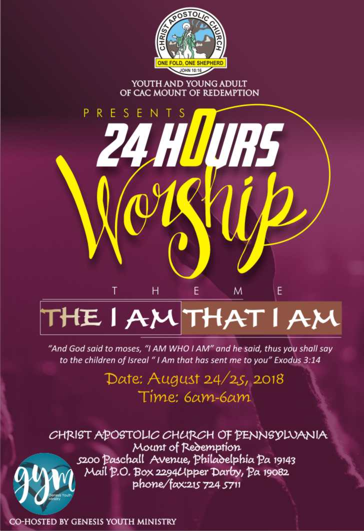Philadelphia 24HoursWorship2018 - 23rd-24th Aug. - 6am
