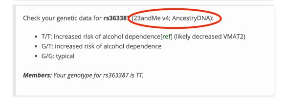 screenshot showing version numbers for 23andme in articles