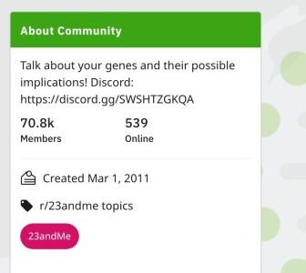 23andMe reddit membership