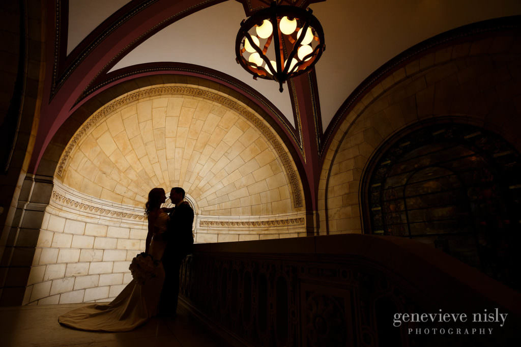 Siloutte of wedding couple at the old courthouse in Cleveland.
