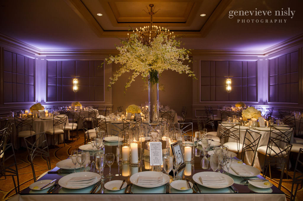 A tall table centerpiece for Dana and Max's wedding reception at the Cleveland Ritz Carlton Hotel.