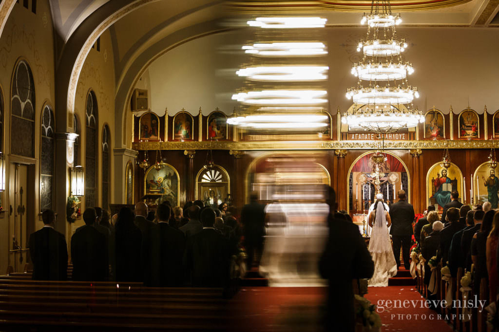 Reflection of the chandelier at St. Haralambos in Canton during the wedding ceremony.