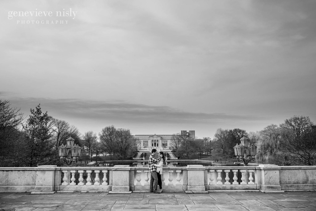 Billy and Grace during their engagement session at the Cleveland Museum of Art with the museum in the background.