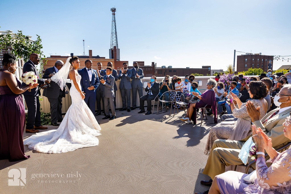 Rooftop wedding ceremony at the Metropolitan Centre in Canton, Ohio.