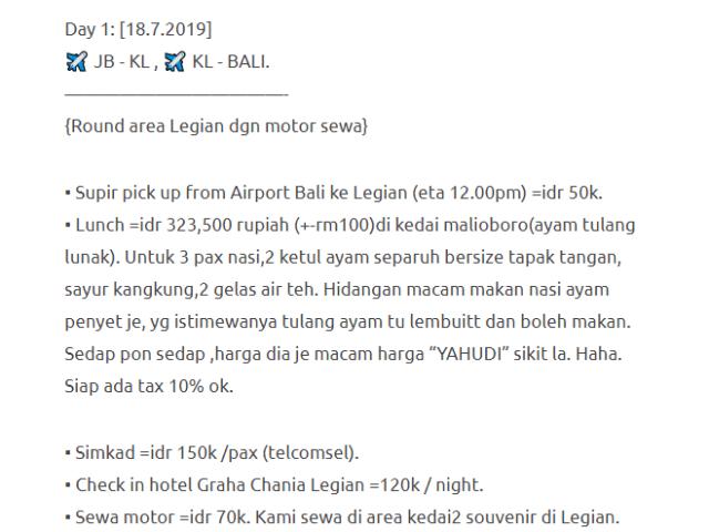 Hanya Berbelanja RM1537 Di Bali & Nusa Penida Untuk 3 Orang. Berbaloi Baloi! 4
