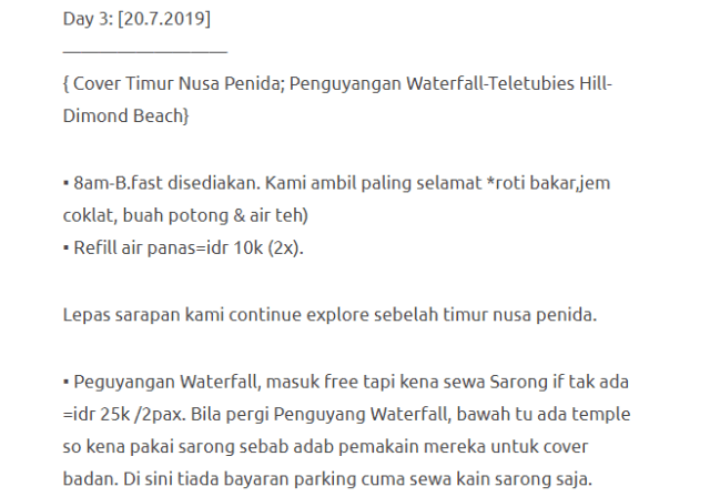 Hanya Berbelanja RM1537 Di Bali & Nusa Penida Untuk 3 Orang. Berbaloi Baloi! 12