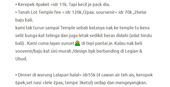 Hanya Berbelanja RM1537 Di Bali & Nusa Penida Untuk 3 Orang. Berbaloi Baloi! 25