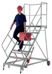 Escaliers mobiles – avec garde-corps sur 3 côtés hauteur max. plate-forme 2760 mm – Echelles à plate-forme Escalier Escalier industriel Escaliers Escaliers industriels Plate-forme mobile Plate-forme roulante Plates-formes mobiles Plates-formes roulantes