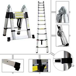 Sotech – Escabeau 2 en 1 – Échelle Télescopique PRO 95 cm à 3.80 mètres en Aluminium – Norme EN131