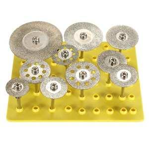 Baban 10 x 1/8 » Diamond lame Set lames de scies circulaires meules f. Dremel 3.0mm argent