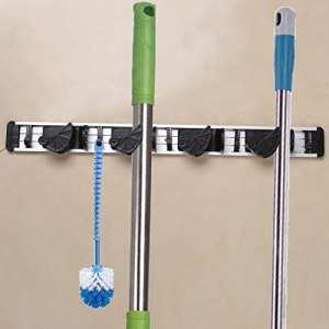 BELLESTYLE Porte outils,Porte Balais Mural Support de Rangement Mural Multifonctions (5 crochets 4 grips de manche à balais)