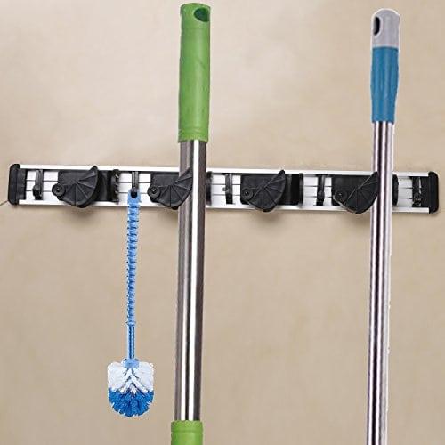 BELLESTYLE Porte outils,Porte Balais Mural Support de Rangement Mural Multifonctions (5 crochets ...