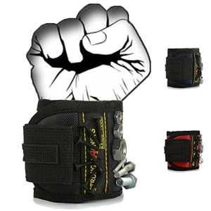 Bracelet magnétique avec des aimants forts pour les vis de maintien, clous, trépans de forage – Best Tool cadeau pour bricoleur Handyman, hommes, femmes( Noir )