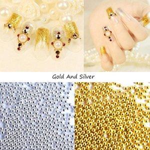 Qhj Perles Caviar Argent Boule en acier pour nail art 3d Salon Acrylique Décoration Conseils Manucure