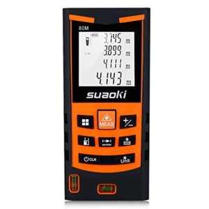 Suaoki S9 80M Télémètre Laser Numérique Precision et Anti-Poussière avec LCD Rétro-éclairage, Laser Mesure Distance Surface Volume