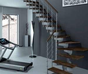 'Mister Step échelle à jour Tech 75à «L en acier et bois, hauteur totale 241–289cm.